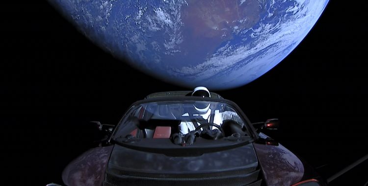 Spaceman in Tesla, laucned by Falcon Heavy